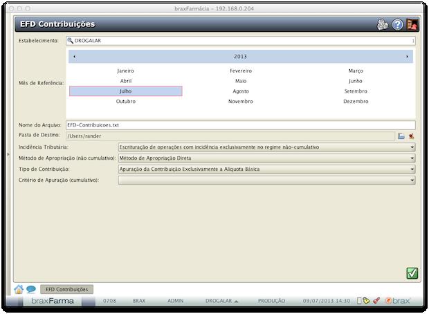 EFD Contribuições - Geração do arquivo EFD Contribuições
