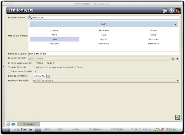EFD ICMS/IPI - Geração de arquivo EFD ICMS/IPI
