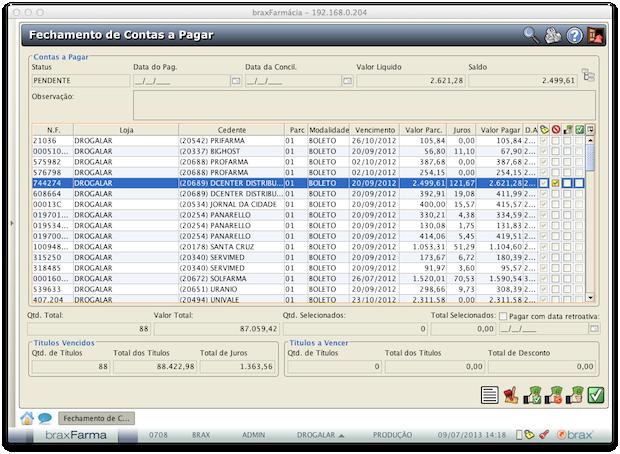 Fechamento Contas Pagar - Visão completa das contas a pagar